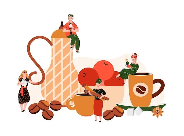 Композиция кофейни с крошечными людьми, держащими чашки и специи