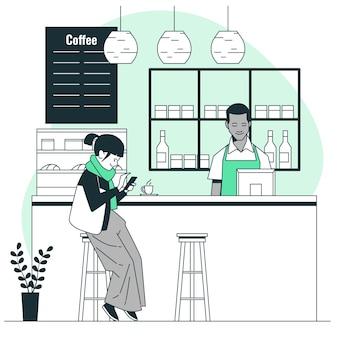 커피 숍 컨셉 일러스트