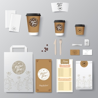 Coffee shop corporate identity template design set with calligraphy logo. take away template,