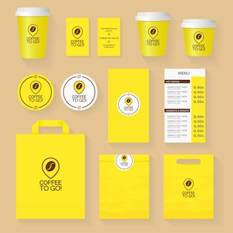 Coffee shop corporate identity template design set with coffee to go logo and coffee grain. restaurant cafe set card, flyer, menu, package, uniform design set.