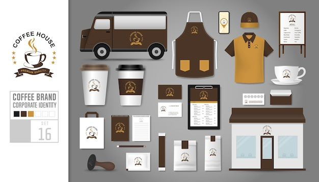 커피 숍 기업의 정체성 템플릿 집합입니다.