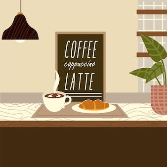 Кофейня круассан латте лампа и иллюстрация растения