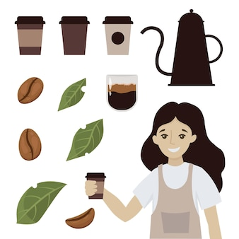 Coffee shop cups beans and leaves coffee cartoon smiling woman waitress character hold coffee cappuccino or latte  illustration