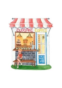 コーヒーショップかわいい夏のカップケーキ水彩イラスト