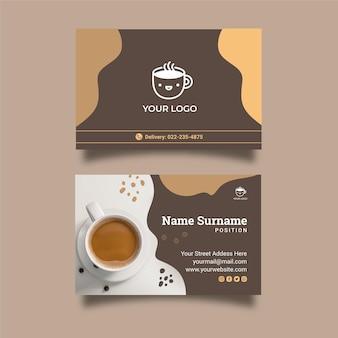 Coffee shop double-sided horizontal business card template