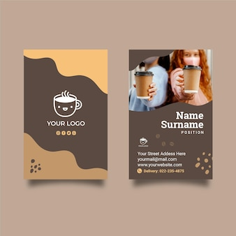 Coffee shop double-sided vertical business card template