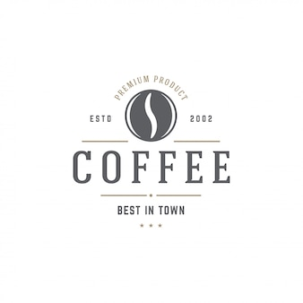 Coffee shop emblem template bean silhouette with retro typography vector illustration