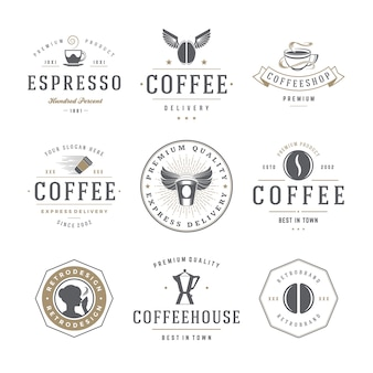 Coffee shop emblems and badges templates set.