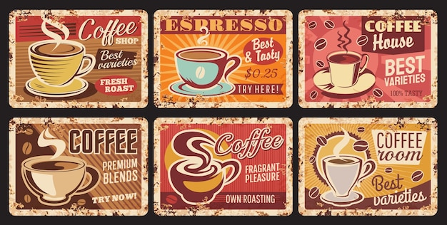 Coffee shop espresso, coffee room tin sign, cafe or restaurant hot drinks rusty metal plate Premium Vector