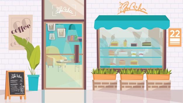 평면 만화 디자인의 커피숍 외부 개념입니다. 디저트, 메뉴, 식물, 유리문, 테이블과 안락의자가 있는 카페테리아 내부 쇼케이스. 벡터 일러스트 레이 션 가로 배경