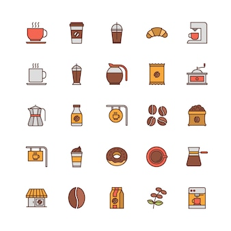 Coffee shop filled outline icon set