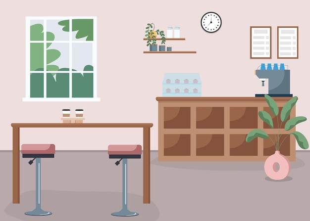 커피숍 플랫 컬러 벡터 일러스트 레이 션. 에스프레소 바. 중소기업. 사람이 없는 식당. 의자가 있는 카운터. 배경에 가구와 카페테리아 2d 만화 인테리어