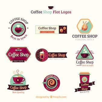 Coffee shop flat logo collection Premium Vector