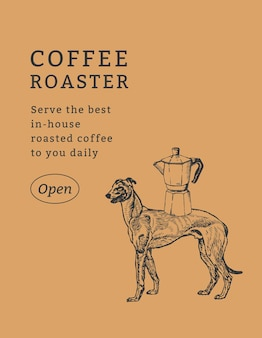 Morizjungのアートワークからリミックスされたヴィンテージ犬のイラストをテーマにしたコーヒーショップのチラシテンプレート