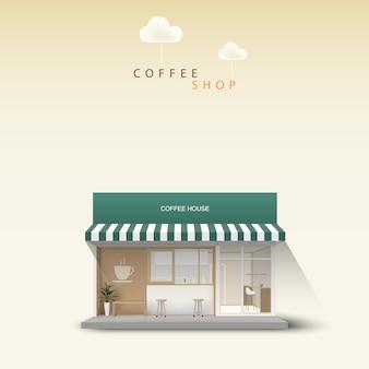 Фронт кафе на открытом воздухе. детальный магазин. кафе иллюстрация.