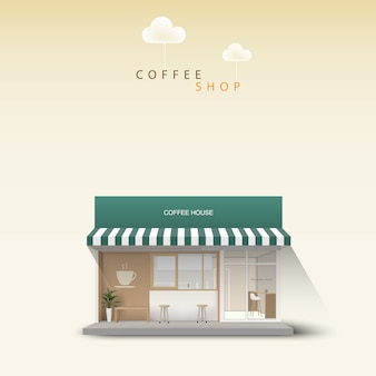 Coffee shop front in outdoor.  detailed shop. cafe illustration.