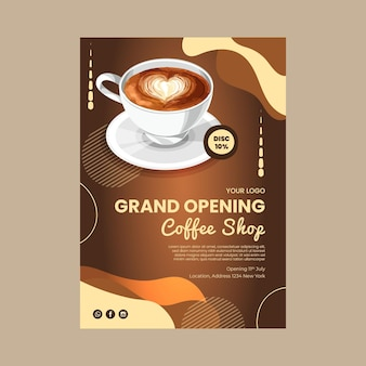 Coffee shop grand opening poster template