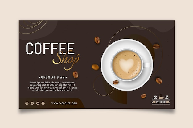 Coffee shop horizontal banner template