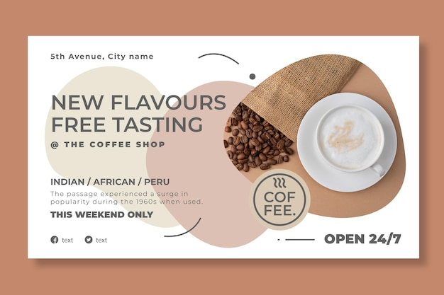 Coffee shop horizontal banner template
