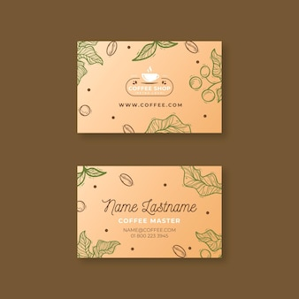 Coffee shop horizontal business card template