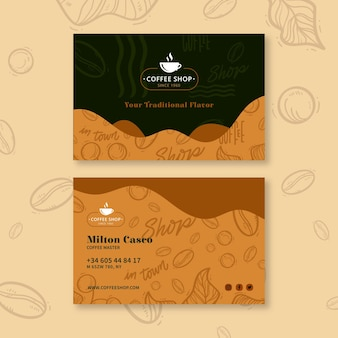 Coffee shop horizontal business card