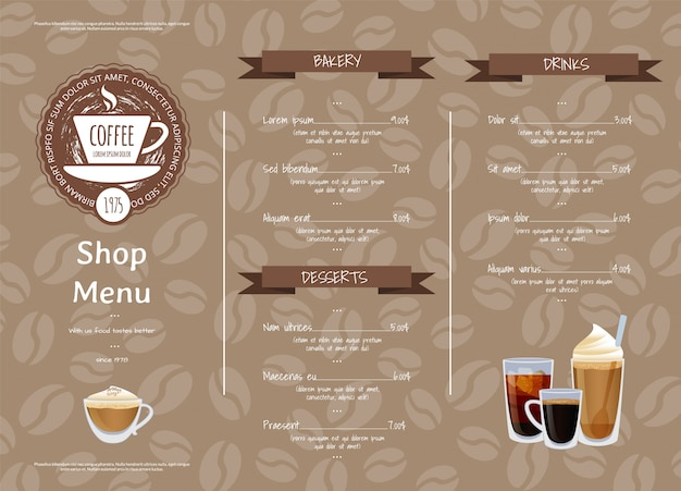 Coffee shop horizontal menu template. illustration of cafe menu, espresso and coffee