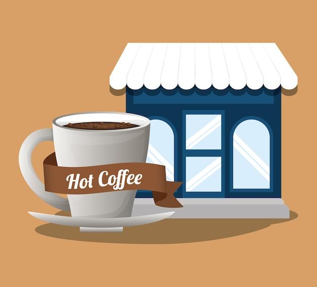 커피 숍 뜨거운 음료 이미지