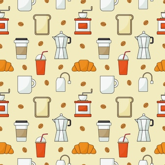 Coffee shop icons set pattern seamless with orange