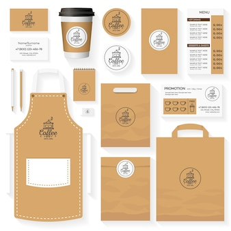 Coffee shop identity template design set with coffee shop logo and coffee machine.