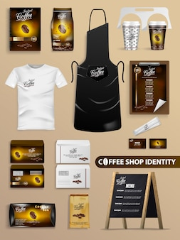 Coffee shop identity with realistic brand set.