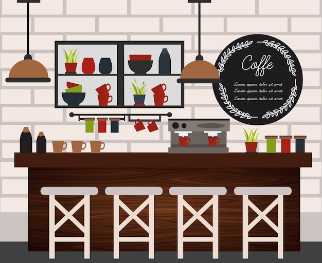 Coffee shop illustration flat and colored with elements of furniture design in modern style