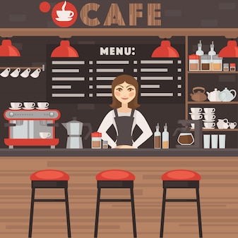 Coffee shop illustration with barrista.