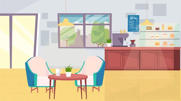 평면 만화 디자인의 커피숍 인테리어 컨셉입니다. 커피 머신이 있는 바리스타 테이블, 메뉴, 디저트가 있는 쇼케이스, 안락의자가 있는 테이블, 문 및 창문. 벡터 일러스트 레이 션 가로 배경