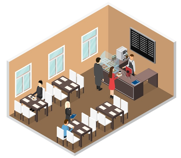 Coffee shop interior in isometric view