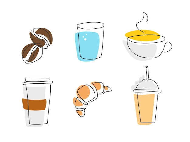 Товары для кофейни. различные чашки и кружки, разные напитки, выпечка, кофейные зерна в модном стиле с цветными пятнами. рисование одной линии. логотип, изолированные на белом фоне