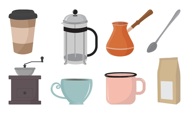 Coffee shop items vector illustration in flat style