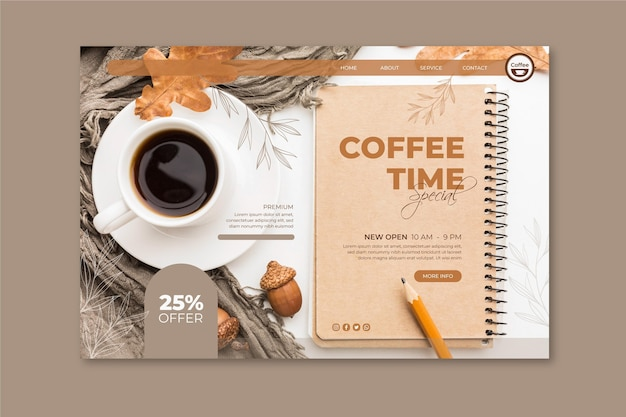 Coffee shop landing page template