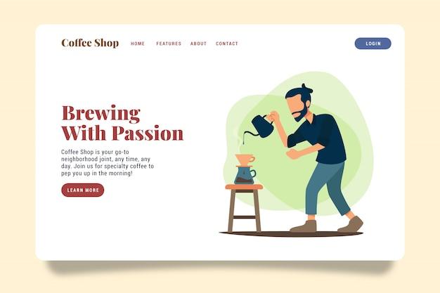 Coffee shop landing page website illustration template