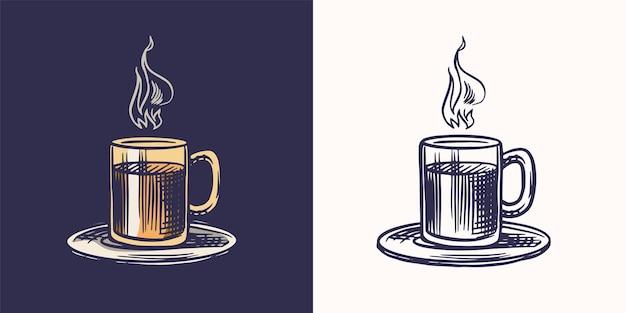 커피숍 로고와 엠블럼 컵 음료 빈티지 복고풍 배지 세트 손으로 그린 새겨진 스케치