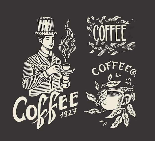 コーヒーショップのロゴとエンブレム