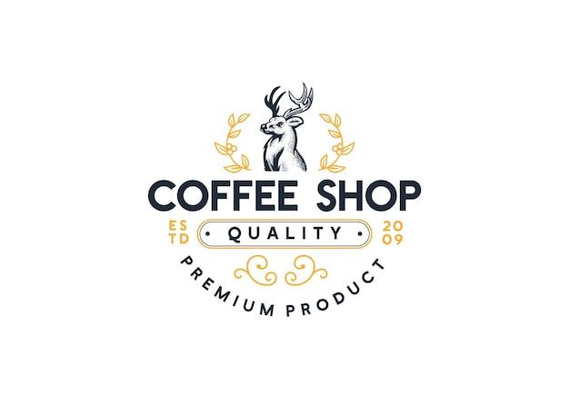 Кофейня логотип животных олень иллюстрации