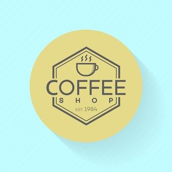 Coffee shop logo on blue