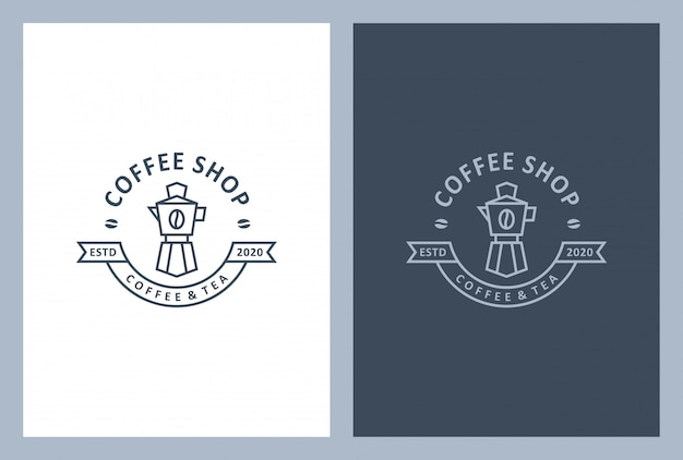 Coffee shop logo design in vintage style