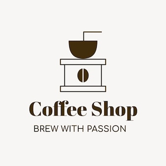 Coffee shop logo, food business template for branding design vector, brew with passion text