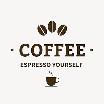 Logo della caffetteria, modello di attività alimentare per il vettore di progettazione del marchio, testo espresso da soli