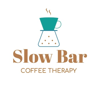 Coffee shop logo, food business template for branding design vector, slow bar coffee therapy text
