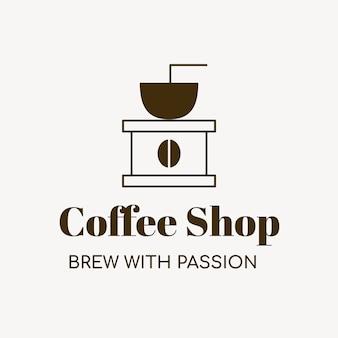 コーヒーショップのロゴ、ブランディングデザインベクトルの食品ビジネステンプレート、情熱のテキストで醸造
