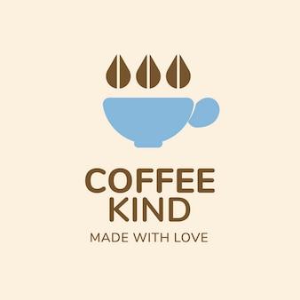 コーヒーショップのロゴ、ブランドデザインベクトルの食品ビジネステンプレート、愛のテキストで作られたコーヒーの種類