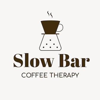 コーヒーショップのロゴ、ブランディングデザインベクトルの食品ビジネステンプレート、スローバーコーヒー療法のテキスト
