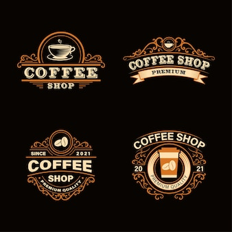 Coffee shop logo set in vintage style. perfect for logos, labels, badges.